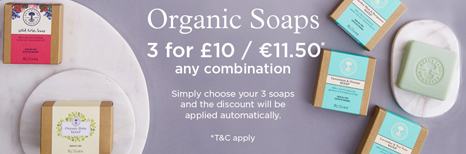 Organic Soaps 3 for £10 / €11.50* any combinatio